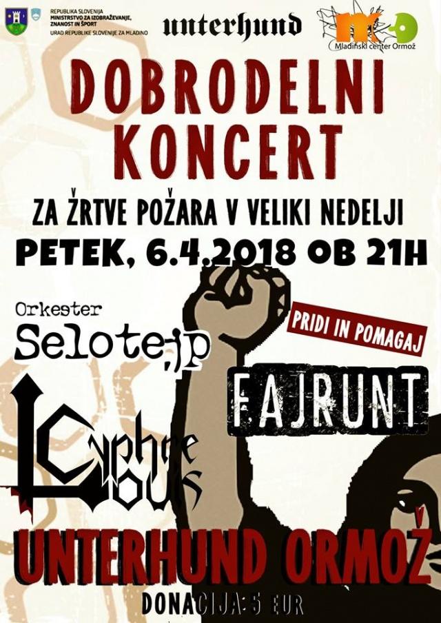 Dobrodelni Koncert: Orkester Selotejp, Nero Burns, Cyphre Louis, Fajrunt